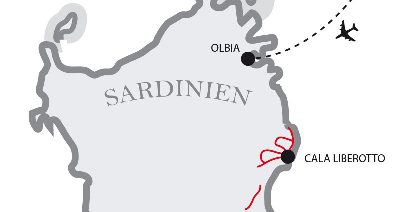 Karte laufferien auf sardinien